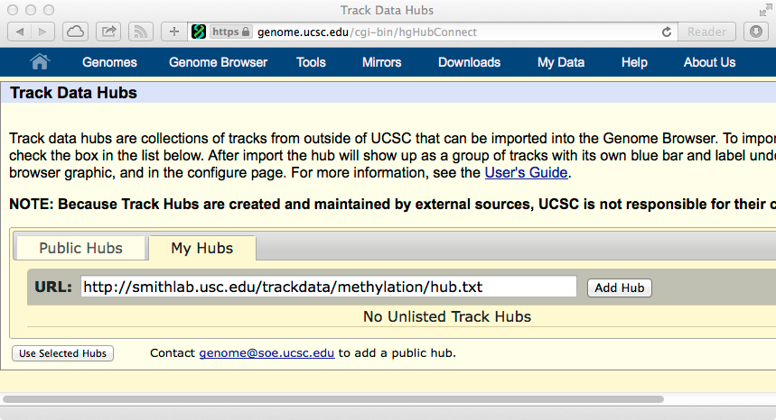 Add MethBase trackhub in Genome Browser mirros